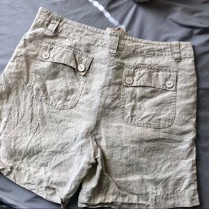 Talbots Shorts - Talbots 100% Irish Linen Front Tie Shorts 8 Tan